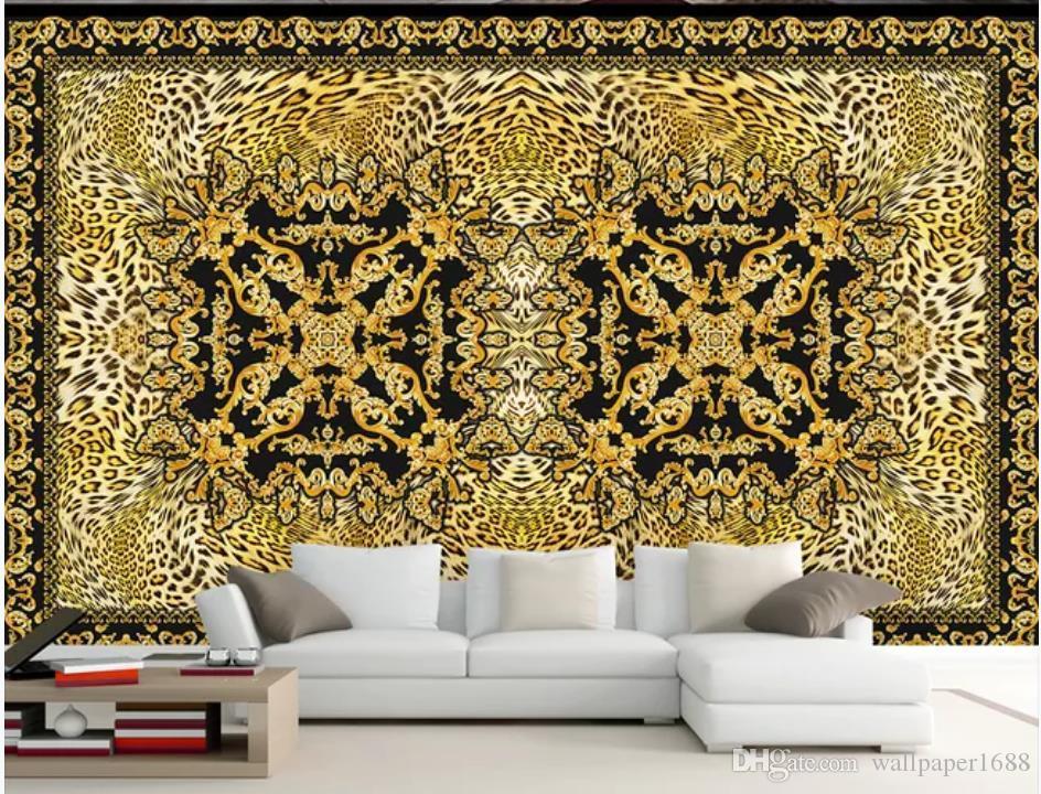 fond d'écran pour les murs 3 d pour le salon européen du papier mural fond canapé TV léopard rétro de luxe