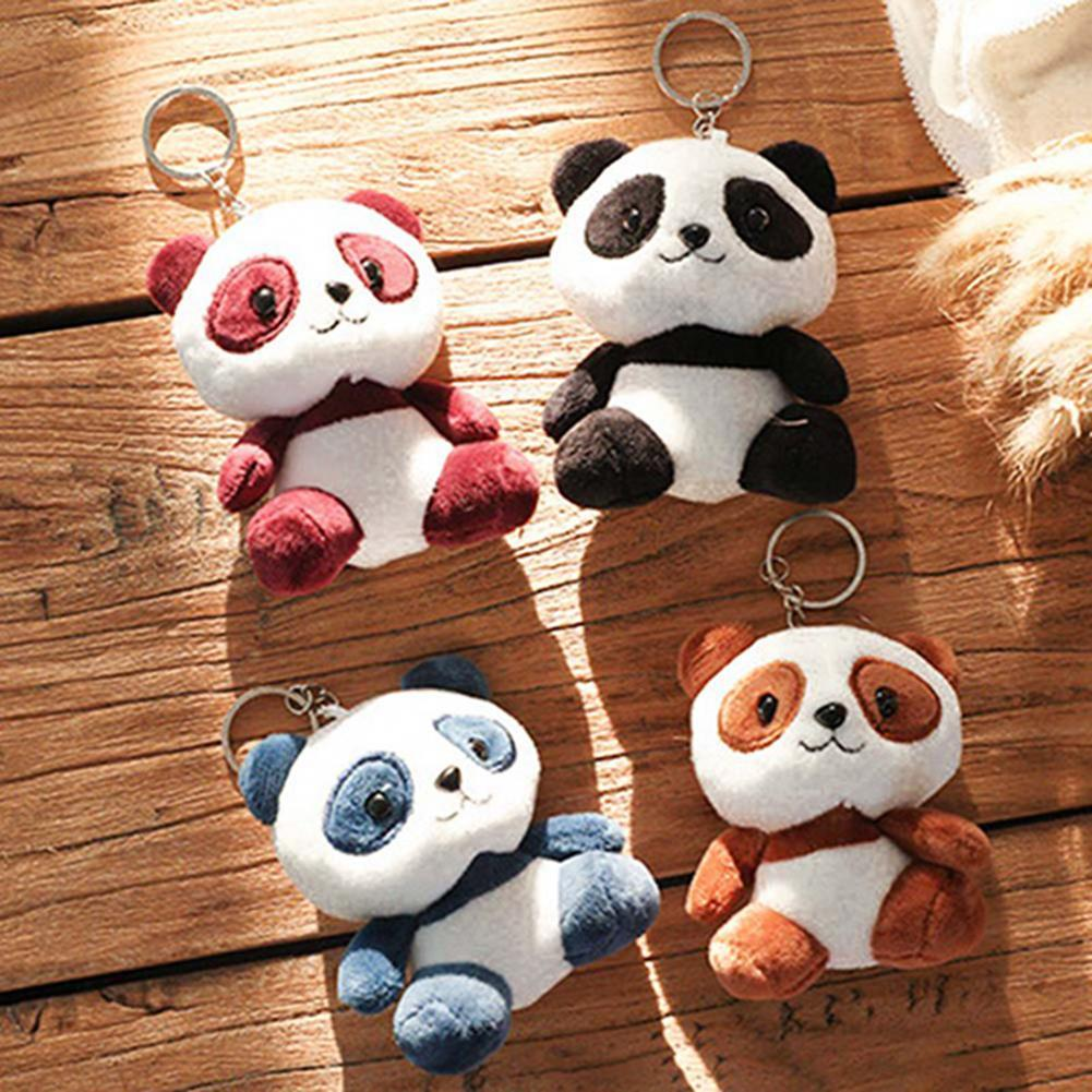 Panda Plush Stuffed Doll Toy Cute Cartoon Keychain Key Ring Backpack Ornament Room decorations For Kids Birthday Gift New 2019