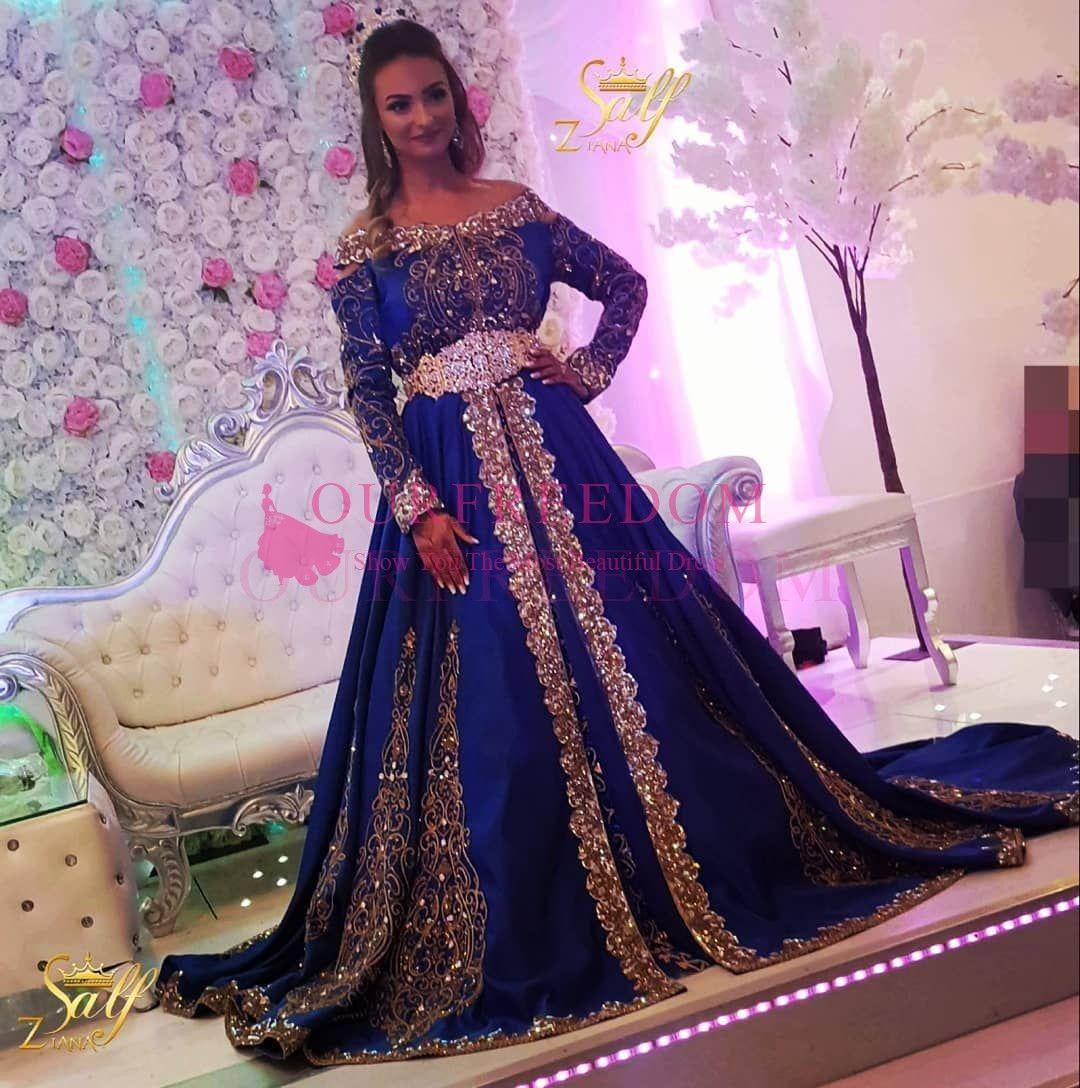 2020 de l'épaule Royal Blue Manches Robes à manches longues Party Soirée Port Pakistani Arabe Arabique Applique Broderie A-Line Robes de bal