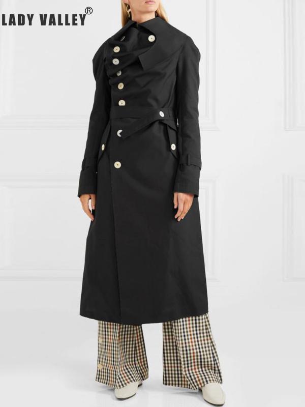 Düzensiz Ceketinizin tek sıralı düğmeleri askıları bel gevşek gevşek uzun trençkot kadın bahar moda mizaç pilili