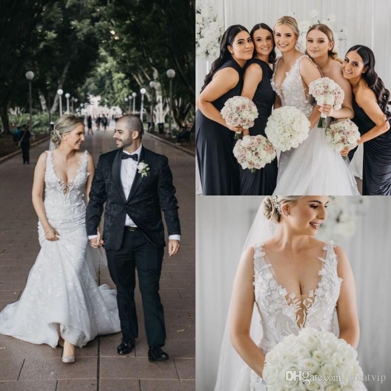 Плюс размер русалки свадебные платья V шеи кружевные аппликации свадебные платья развертки поезда на заказ из тюля свадебное платье