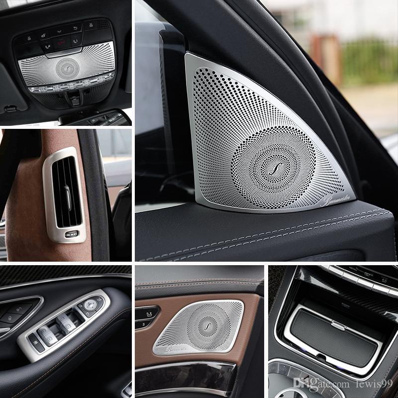 메르세데스 벤츠 S 클래스 W222 2014-19 자동차 기어 시프트 에어 컨디셔닝 도어 팔걸이 독서 라이트 커버 트림 스티커 부속품