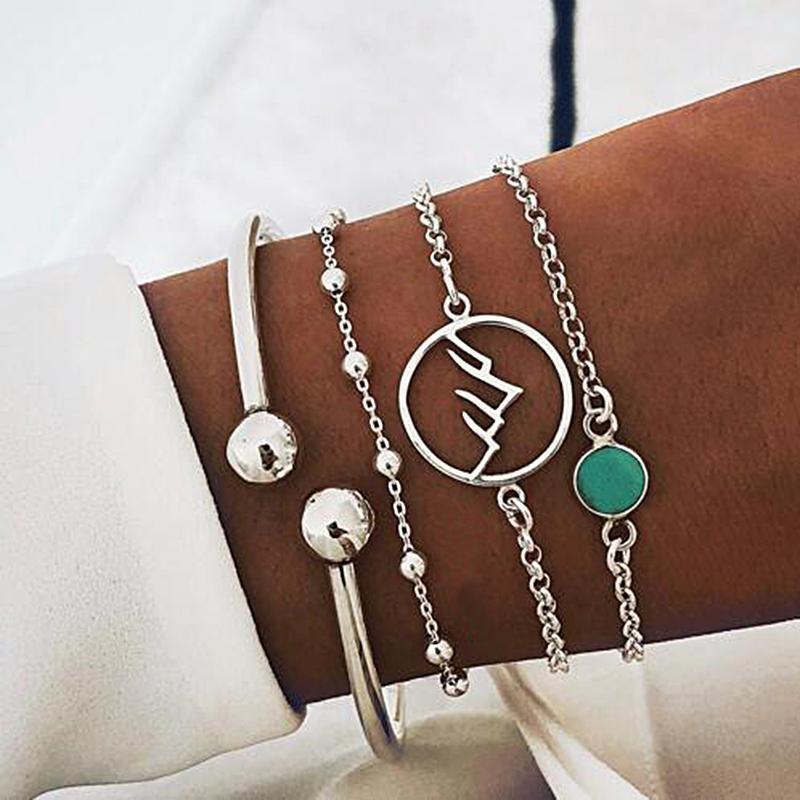 4 pièces / set Bohême géométrie Motif Cercle creux vert cristal de la chaîne de bracelets à maillons Ensemble pour les femmes d'argent Multilayer Cuff Bangle