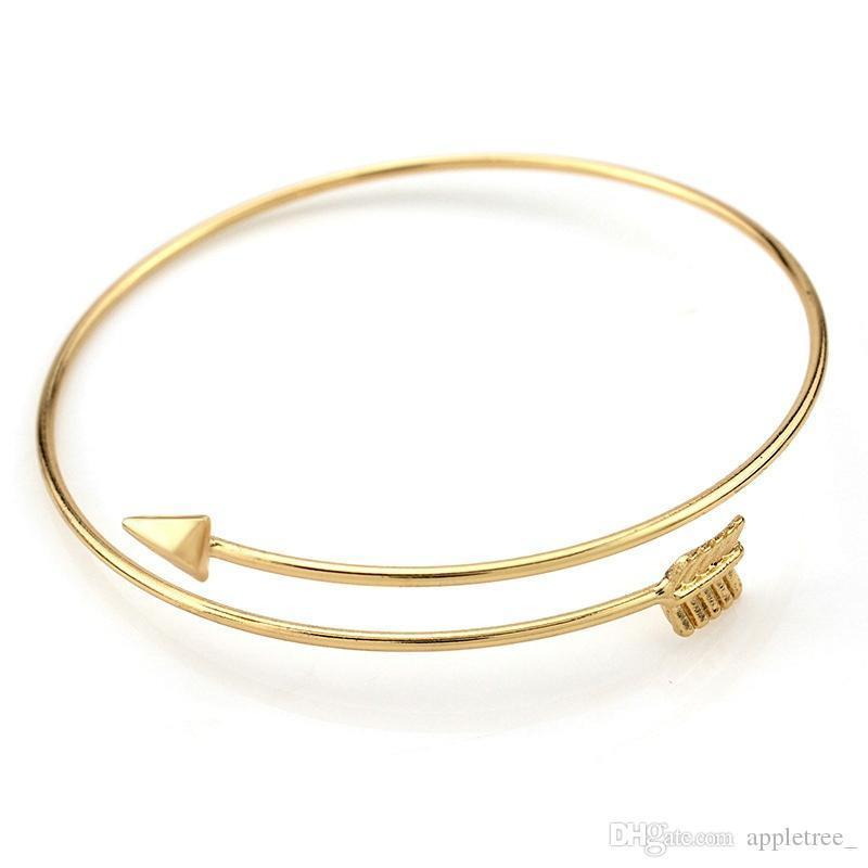 Flecha pulseras abierta pulsera brazalete de oro plateado de aleación brazaletes para mujeres niñas para mujer bisutería joyas al por mayor nueva
