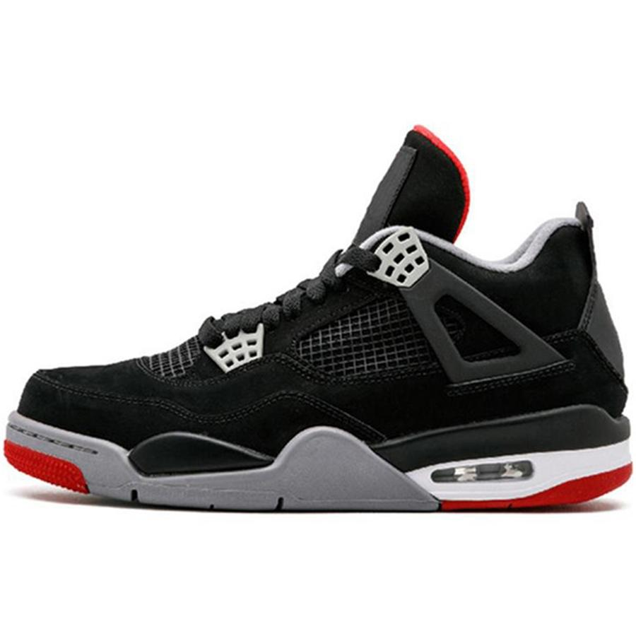 Hot Sale 4S Men Basketball Shoes Men White Cement Pure Money Premium Black Military Blue Thunder Bred Oreo Fire Red Sport Sneaker Shoe #729
