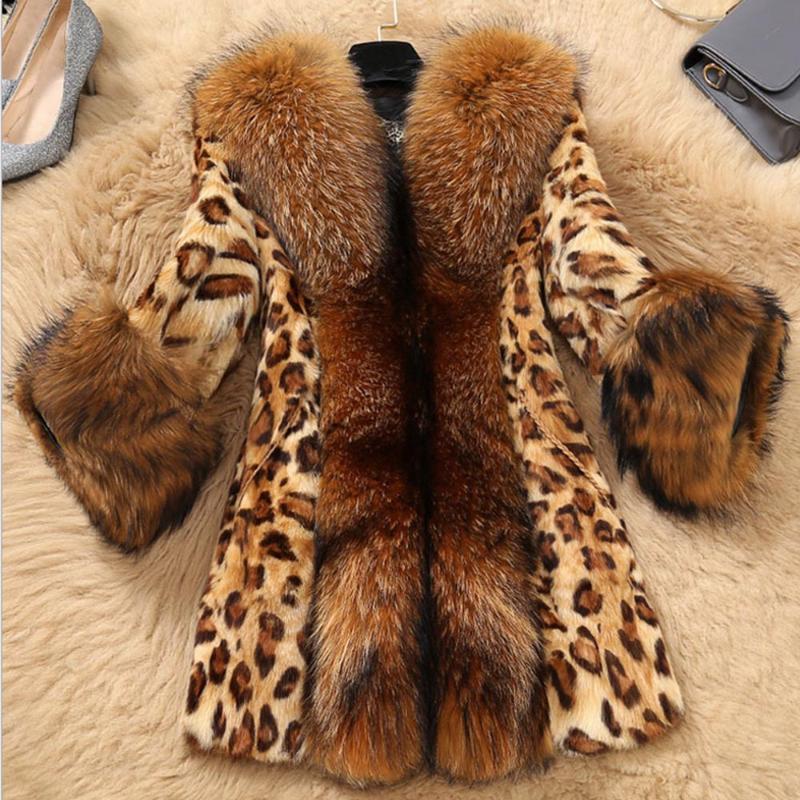 Taille Plus S-5X Automne Hiver Femmes en fausse fourrure Manteau classique Lady Leopard Veste Manteau Fluffy Leopard Patchwork chaud épais vêtement
