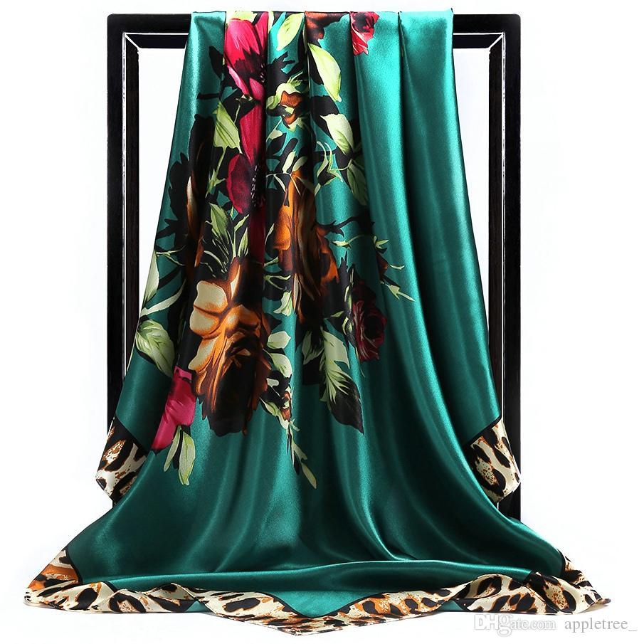 Шелковый шарф шарфы для женщин шарф женские леди шарфы женщина шали обруча модные аксессуары Рождественский подарок 90 * 90см