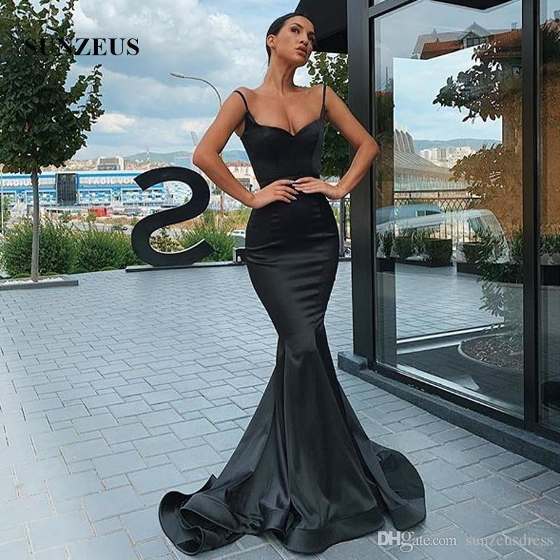 Denizkızı Spagetti sapanlar Uzun Abiye Giyim 2020 Kara Atlas Formal Elbise Basit Zarif Parti Robe Kadınlar Elbise
