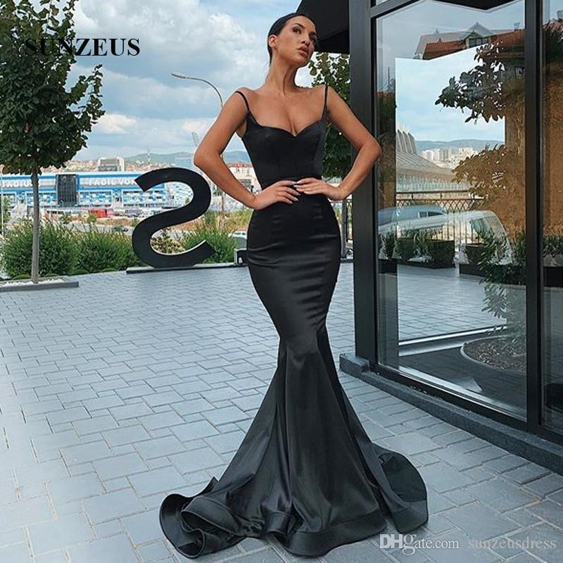 Sereia cintas de espaguete vestidos de noite 2020 preto de cetim vestidos formais simples elegante da festa Robe Mulheres Vestido