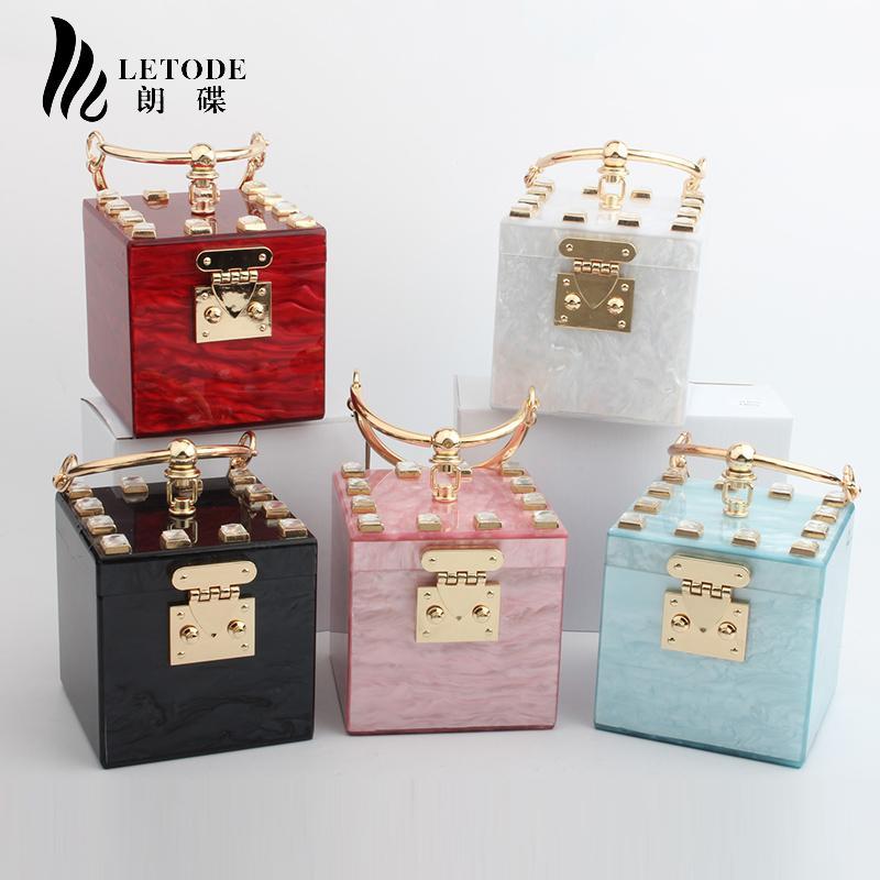 Fashion Acrylic Clutch Evening Bags Women Mini Hand Bag Box Lady Wedding Bridal Party Bag Female Vintage Handbag Bolsa Feminina