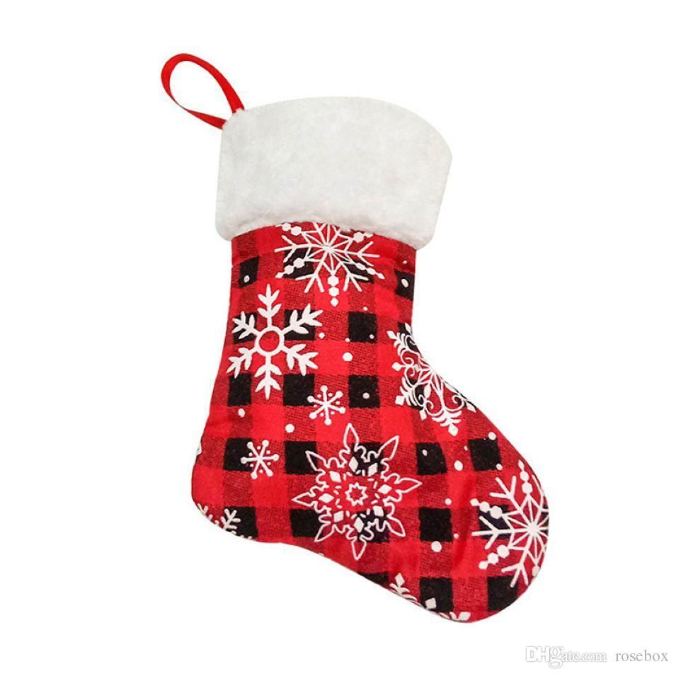 Red Plaids Christmas Stockings Mini Snowflake Christmas Stockings Christmas Tree Ornament Xmas Gift Bag 2 Pieces ePacket