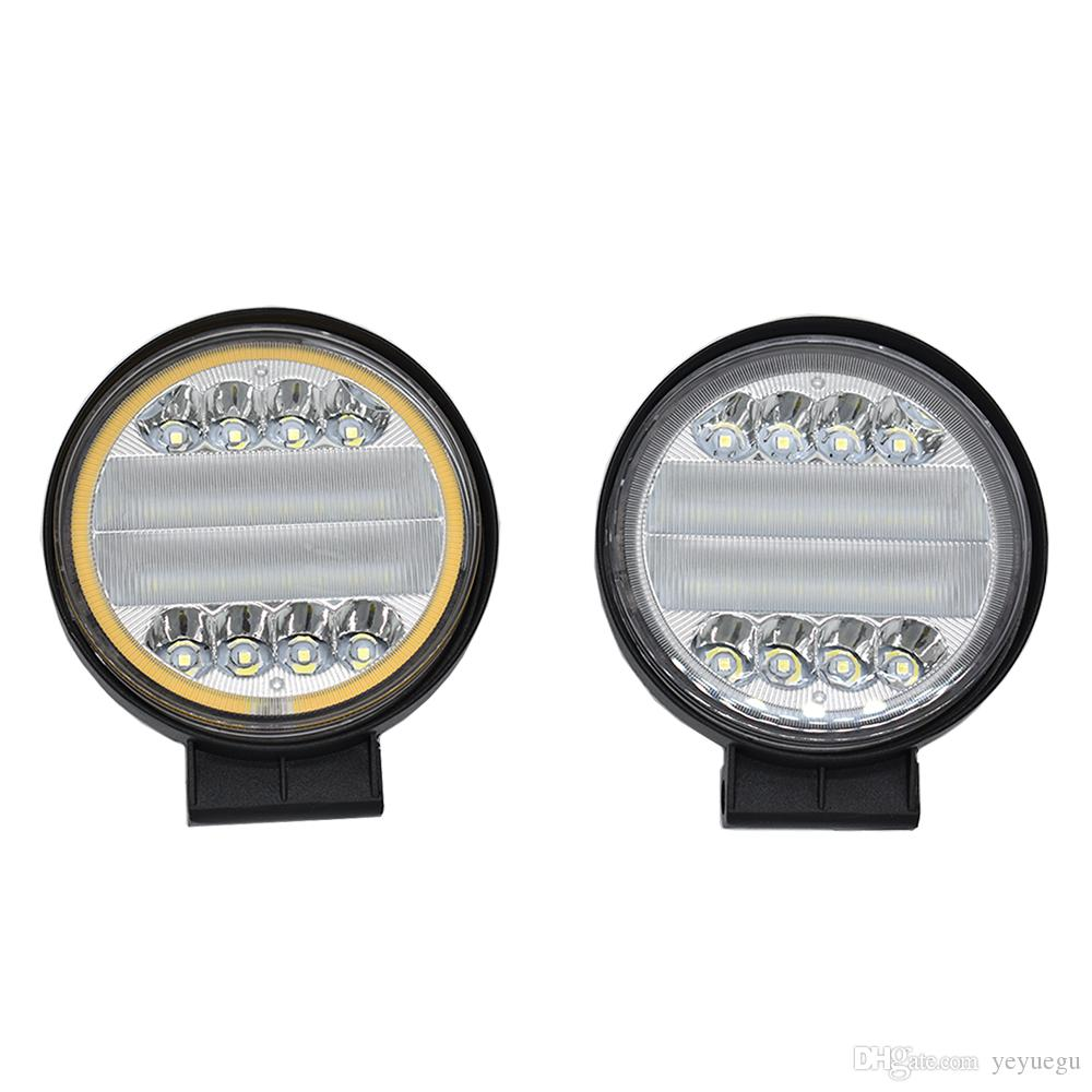 SET OF 2 PCS HIGH POWER ROUND 12V 24V LED WORK LAMP FLOOD LIGHT OFFROAD PICKUP