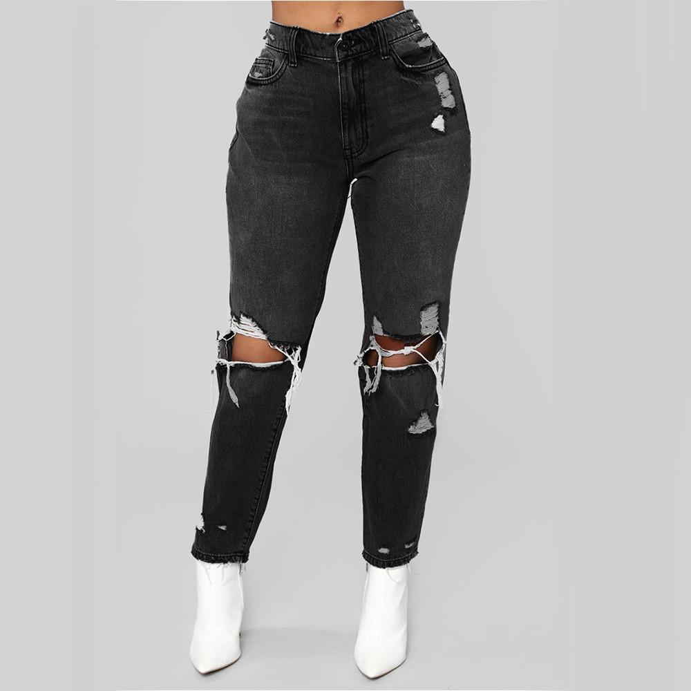 Pantalones para mujeres de la manera pantalones vaqueros del dril de algodón de las señoras de las mujeres de cintura alta estiramiento delgado pantalones lápiz atractivo 2019 más nuevo