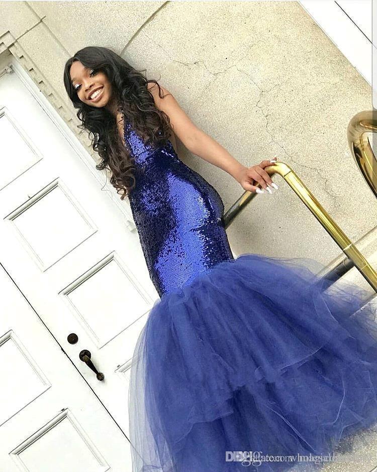 Bleu royal col en V paillettes sirène de bal robes longues tulle couches train de balayage soirée formelle robes de soirée robes faites sur commande ogstuff personnalisé