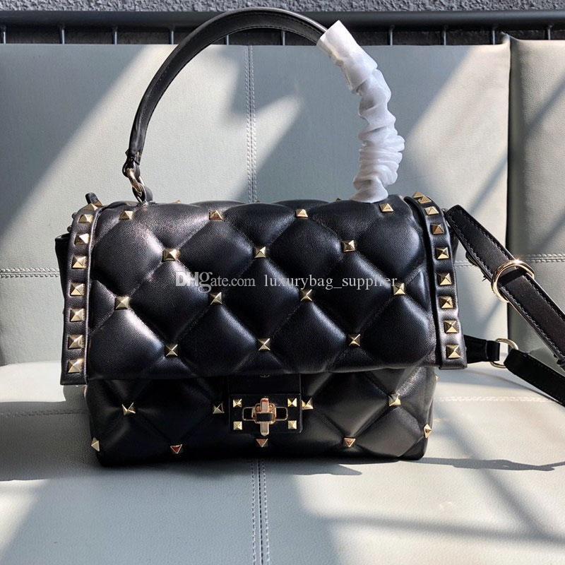 레이디가 표면 지갑 진짜 가죽 이동식 어깨 스트랩 무료 배송 부드러운 핸드백 크로스 바디 가방 고품질 패션 리벳 가방 체인