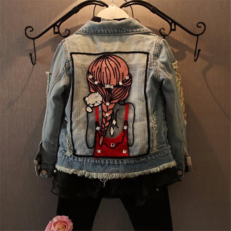 여자 데님 코트 여자 아기 옷 봄 겨울 아동 청바지 재킷 장식 조각 리틀 뷰티 디자인 키즈 자켓 드롭 배송 LY191220