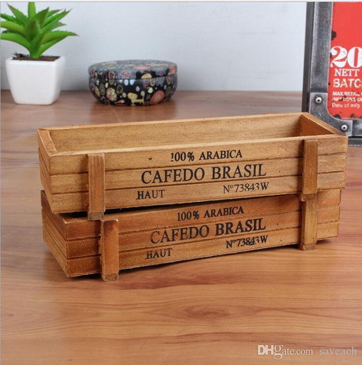 Wooden Small Flowerpots Desktop Sundries Container Cosmetics Storage Box pencil case For Home Office House Garden decoration