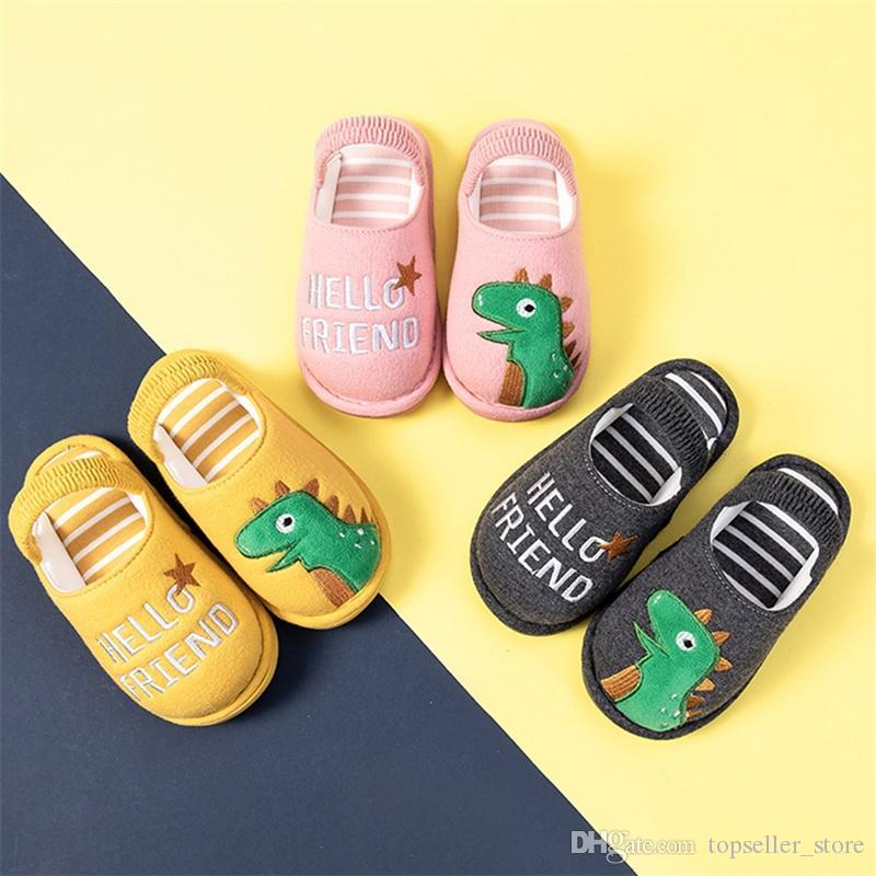 Bebek Boys Kız Terlik Çocuklar sevimli hayvan Ev Terlik Ayakkabı için Kabarık Küçük Çocuklar Kış Sıcak Ev Shoes