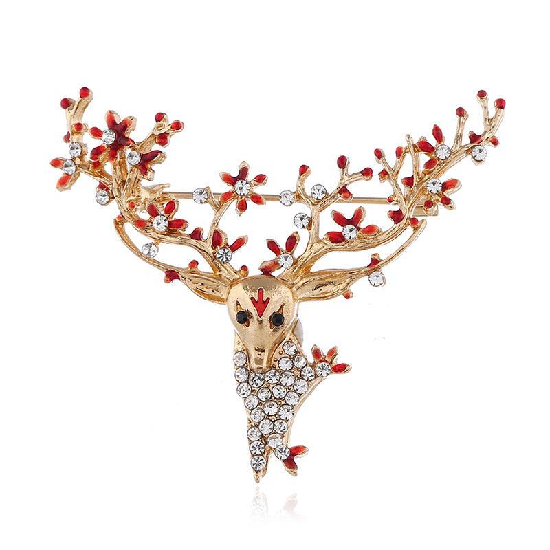 Xmas populares de Natal animal cervos Antlers Chefe Broche Pin Unisex bonito da forma do ouro Broches presente de Natal Retro Vintage