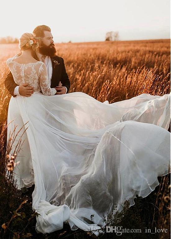Romantik 2020 Ülke Gelinlik Illusion Dantel Üst 3/4 Kollu Şifon Şık Gelin törenlerinde Vestido De Noiva Özel Boyut