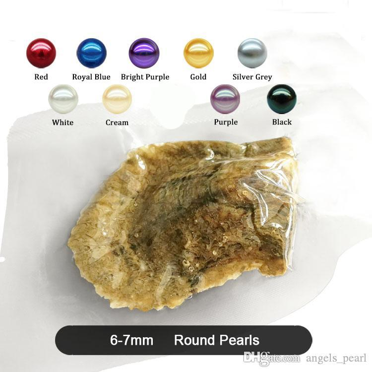 O envio gratuito de Atacado 2020 redonda Akoya da ostra jóias 6-7 mm ostra arroz 25color Seawater pérolas como presente de mistério com vácuo Package