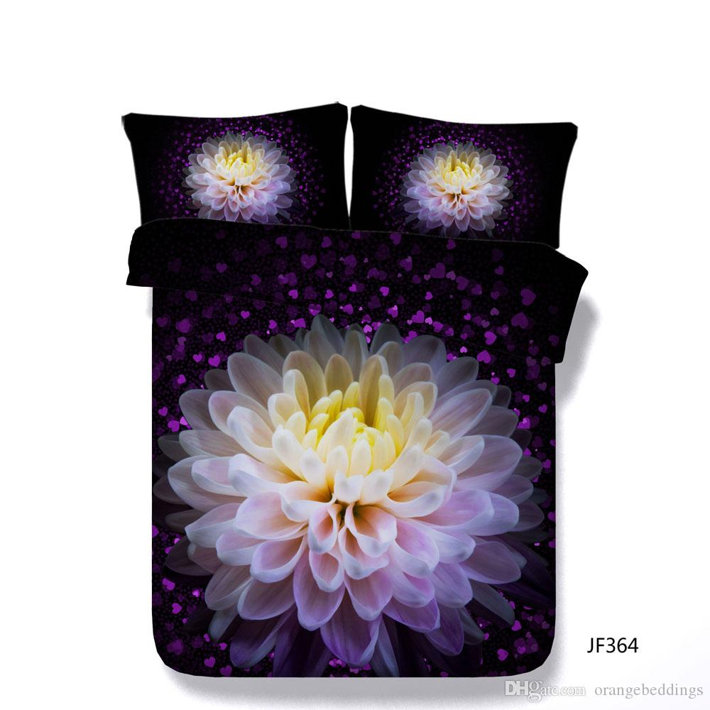 Purple Floral Duvet Cover Set Decorative 3 Piece Bedding Set With 2 Pillow Shams Watercolor Roses Gun Bed Cover Comforter Cover Kids Boys