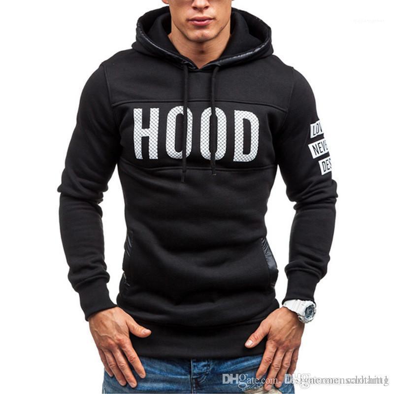 Mens Sweatshrits Fashion Teenager Tops Letter Print Mens Hoodies Winter Thick Long Sleeve Hooded