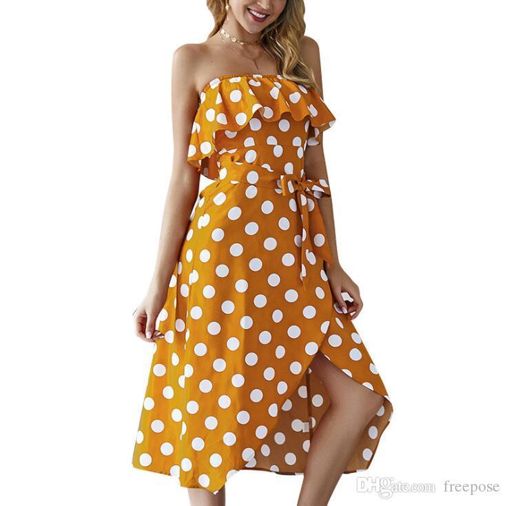 Frauen Sommer Tupfen Kleid Schulterfrei Strandkleider Casual Style Kleid 2019 Sexy Sommerkleid Hohe Taille Vintage Abend Lange Kleider FY01