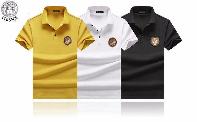 2019 à manches courtes T-shirt haut de gamme pour hommes de tendances de la mode hommes beau respirant revers absorbant la sueur pull-over A1082A2387