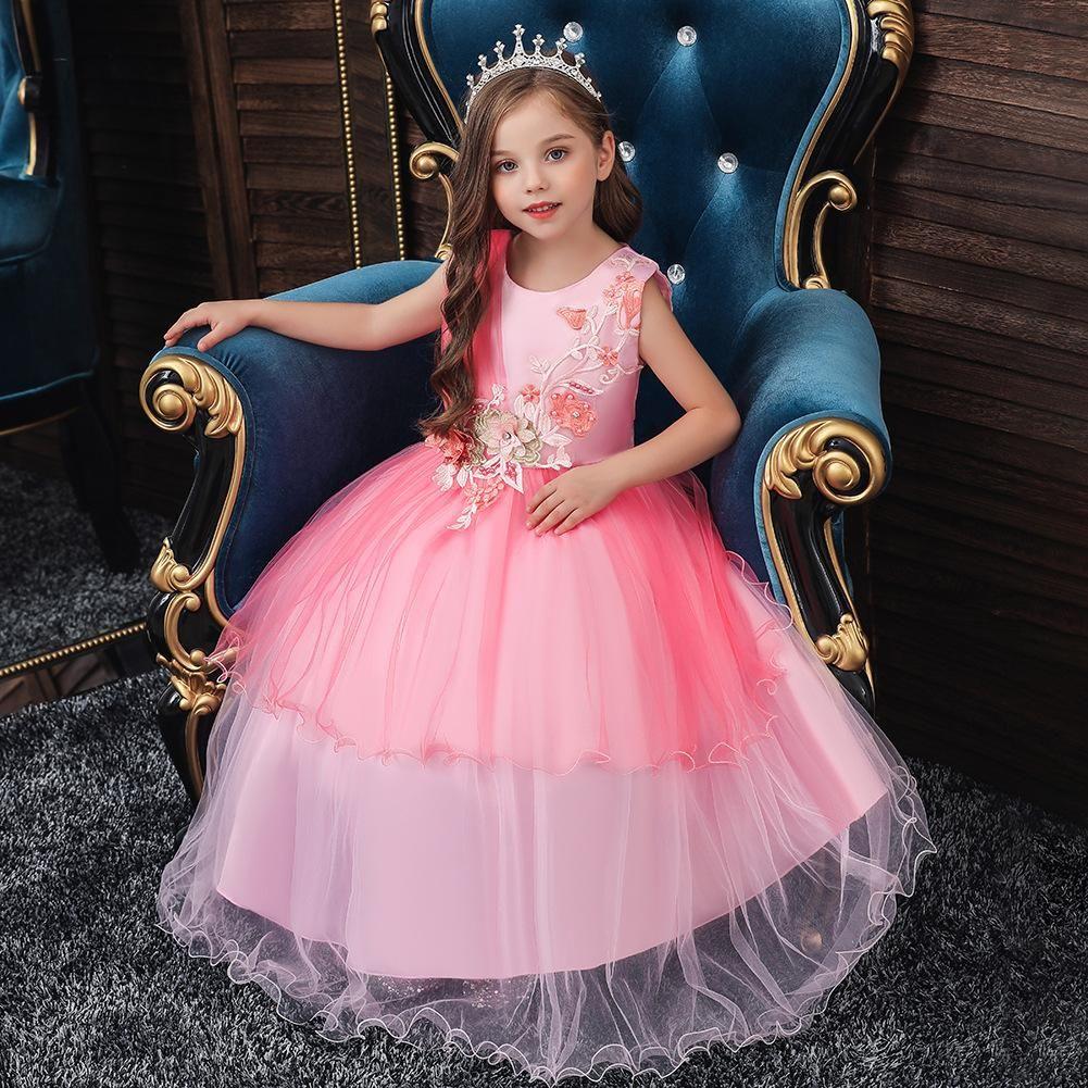 Robe vintage fleur filles pour le mariage de soirée enfants Princesse Party Pageant robe longue pour les enfants Robes layette formelle E200203