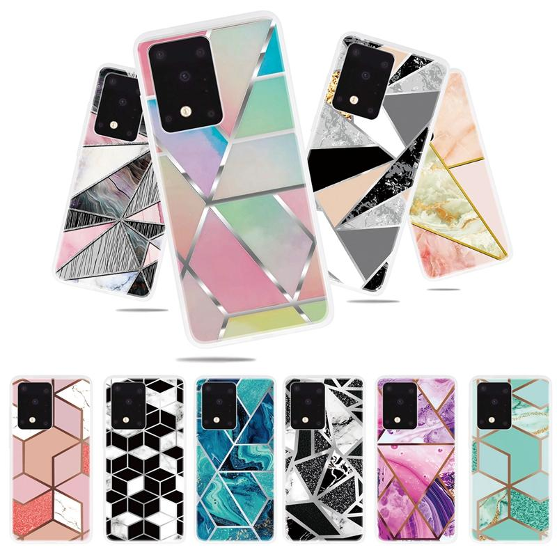 Marble Soft TPU Case For Samsung S20 Ultra Plus A01 A10S A51 A71 A21 A11 A81 A91 Geometry Hybrid Rock Granite Stone Hit Color Ocean Cover