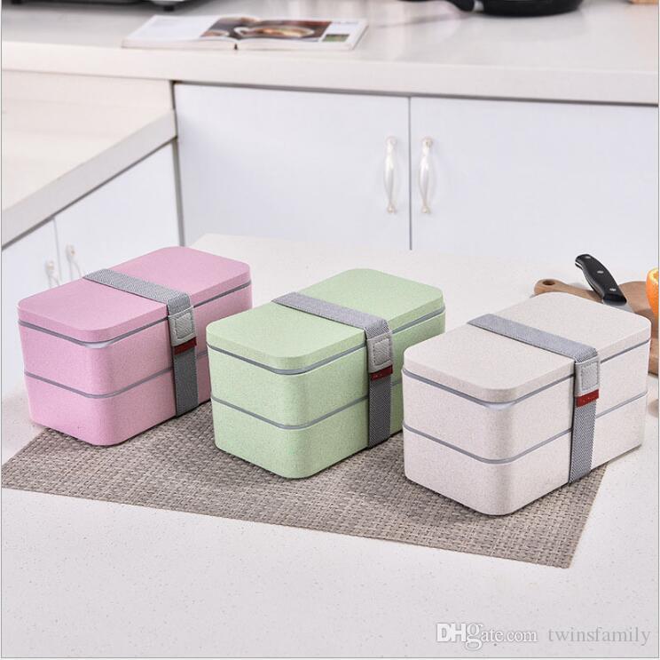 El almuerzo caja de la caja de paja de trigo Bento cajas de almacenamiento de alimentos de microondas Recipiente de trabajo saludables Bento caja con tapa de frutas Vajilla 2 Capa D6897 1200ml