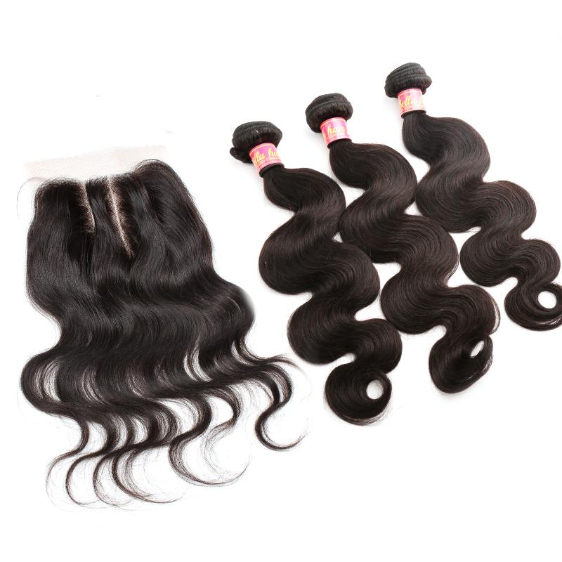 Bella Hair® Brazilian Hair Bundles with Closure 8-30 Double Weft Human Hair Extensions Hair Weaves Closure Body Wave Wavy Julienchina