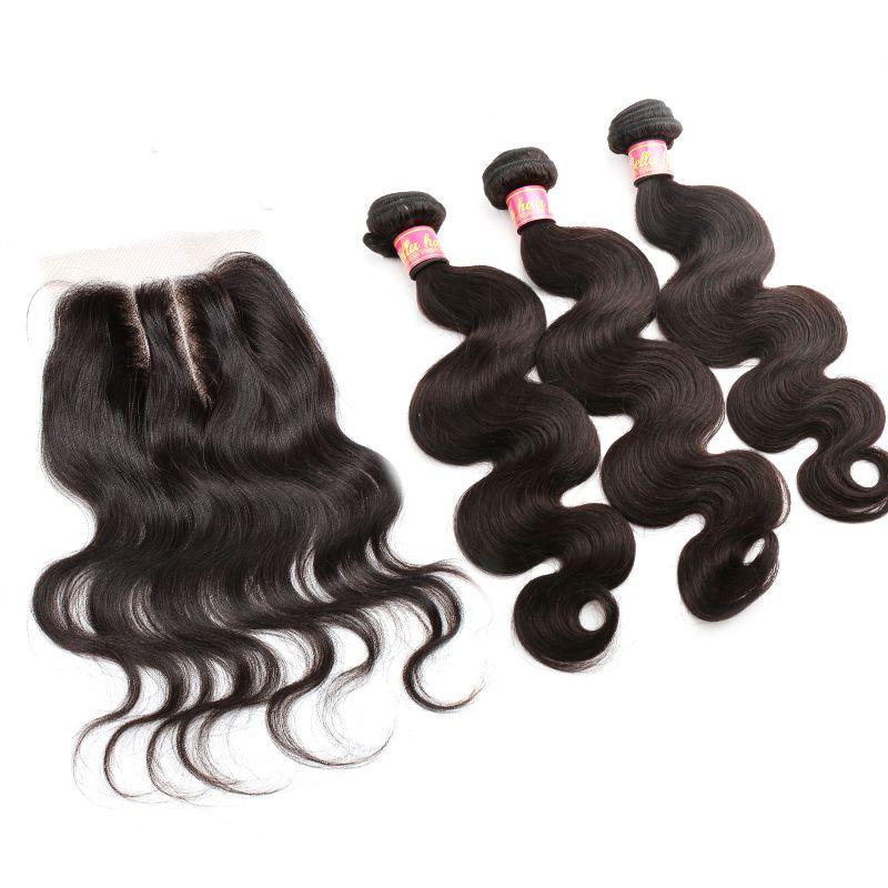 Bella Hair® Brésil Bundles cheveux avec fermeture 8-30 Double Trame Extensions Cheveux humains Tissages Fermeture vague de corps onduleux Julienchina