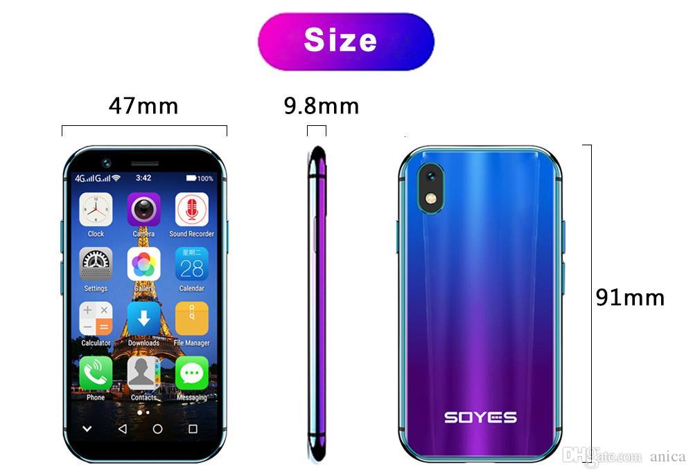 Los teléfonos LTE Pantalla táctil Face ID inteligentes Teléfonos Móviles SOYES XS androide original Super Mini SmartPhones MTK6737 3 GB + 32 GB 5.0MP Dual SIM Pequeño 4G