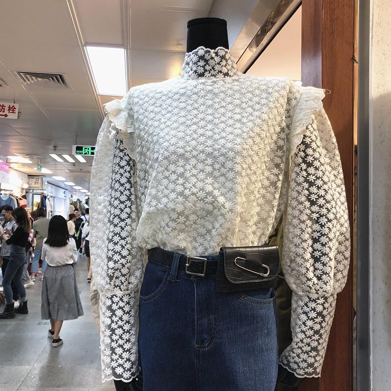 In stile coreano albicocca pizzo camicetta Womens camicetta Nuovo Inverno camicia elegante temperamento collare del basamento delle donne Blusas Femme Nancylim