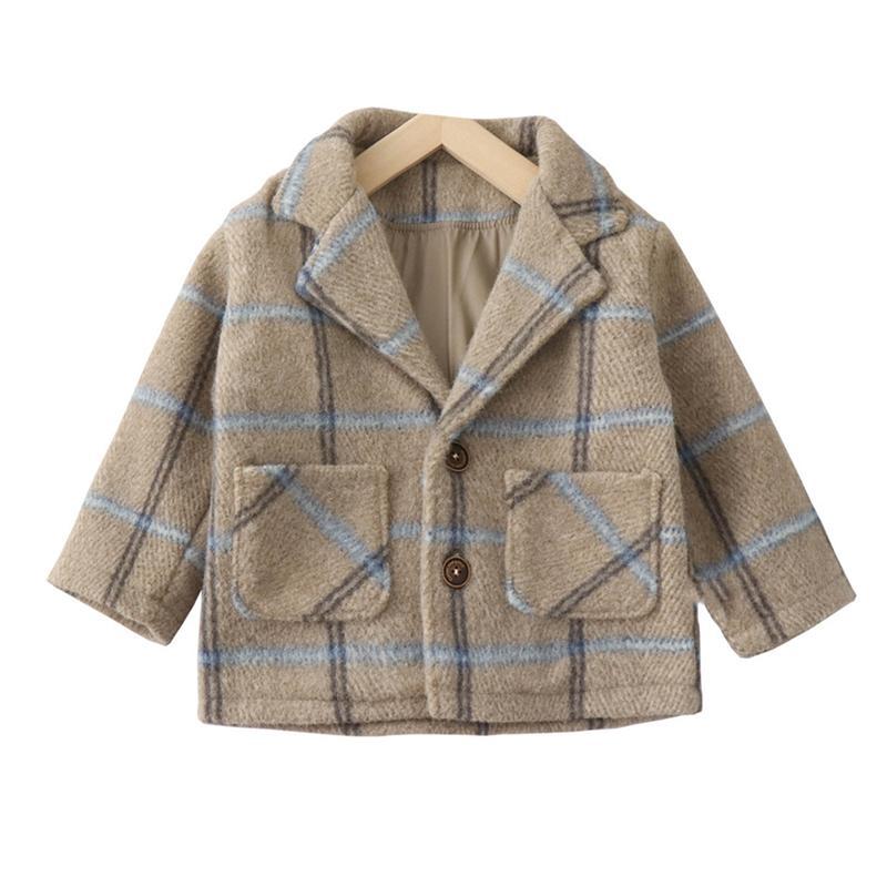 Повседневная зимняя куртка новые девушки мальчиков шотландки пальто Корейский моды ребенка длинный рукав пальто Kids Деловой костюм