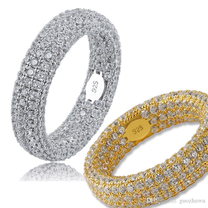 925 Твердые серебряные золото Белое золото покрыло Iced Out CZ Цирконом кольцо Hip Hop Rapper ювелирные подарки кольцо для пар мужчин и женщин