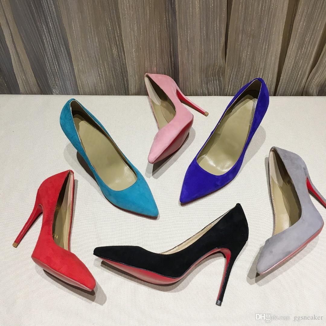 TOP Quaility Heel Damen Leder-Kleid-Schuh-Designer Schwarz Stilettfersenschuhe Grün Blau Gelb Frauen Hochzeit Kleid Schuhe mit Kasten