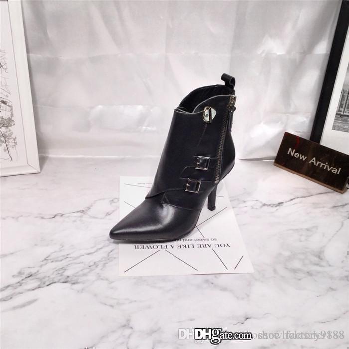 Frauen-Absatz-Jumble Stiefel in Kalbsleder, Spitzschuh Ankle Booties mit Schnallen in Boyish Style Leichtbau mit Box 35-41