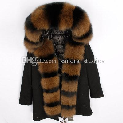 @sandra_studios Thicken amovible la patte de fourrure de renard noir avant et colliers l'hiver de femme longue vers le bas parkas avec capuche dunjacka Kvinnor