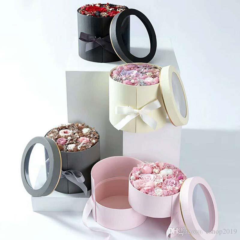더블 레이어 라운드 꽃 종이 상자 리본 크리 에이 티브 로즈 부케 선물 포장 포장 골 판지 상자 발렌타인 데이 웨딩 장식