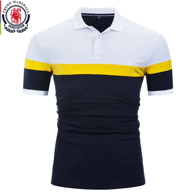 Fredd Marshall 2020 neue Art und Weise Patchwork Shirt Männer 100% Baumwollbeiläufiges Kurzarmhemd Oberteile Herren-Marken-Kleidung 056