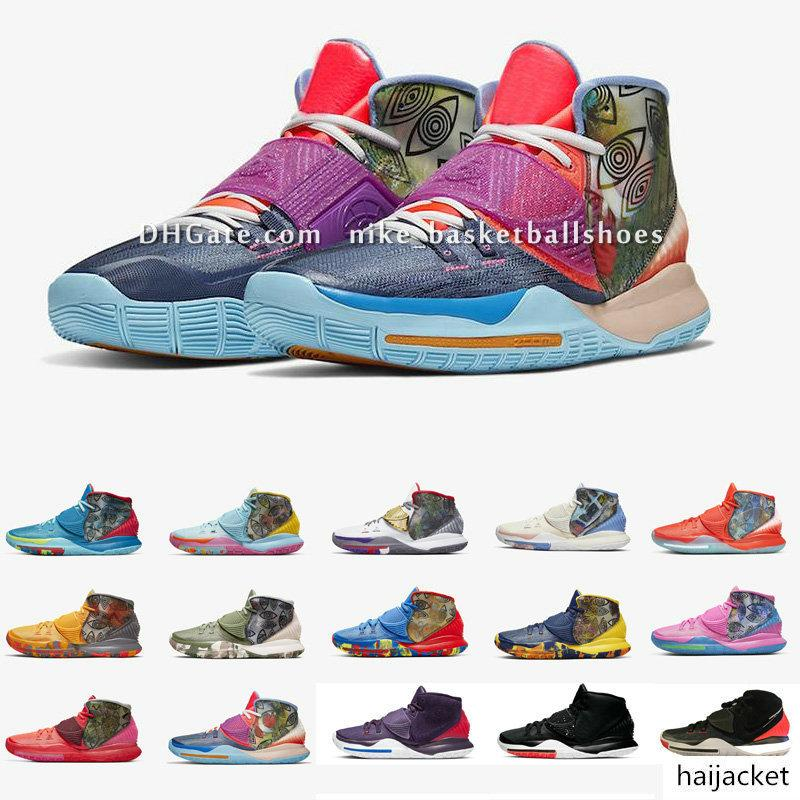 Kyrie 6 VI Préchauffez Basketbal Chaussures Irving Femmes Enfants Garçons Filles de chaussures de formation pour enfants 11 villes de la ville avec la taille originale US4-12 b12