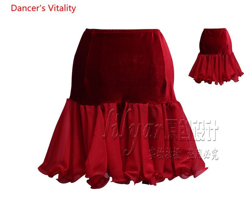 Женщины Латинские танцы практика Одежда плиссированные юбки елочка Юбка повелительницы Девушки Бальные Waltze танго Performance Одежда