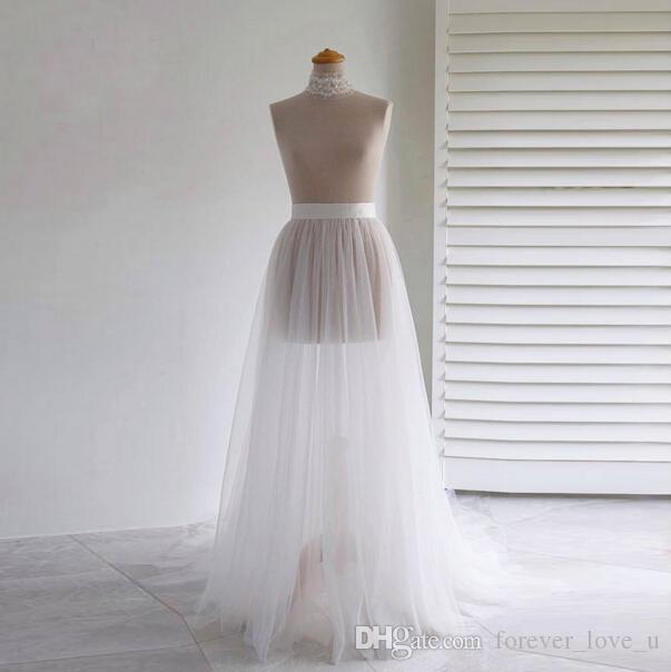 2019 Frete Grátis Simples Sheer Overskirt Duas Camadas de Tule Saias Barato Acessórios Do Casamento para o Vestido De Casamento Evening Party Gown
