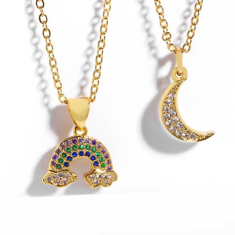 Rainbow Moon Gargantilha Colar Mulheres Cubic Zirconia pulseiras de ouro 18K Jóias Presentes New Design de Moda colares para meninas
