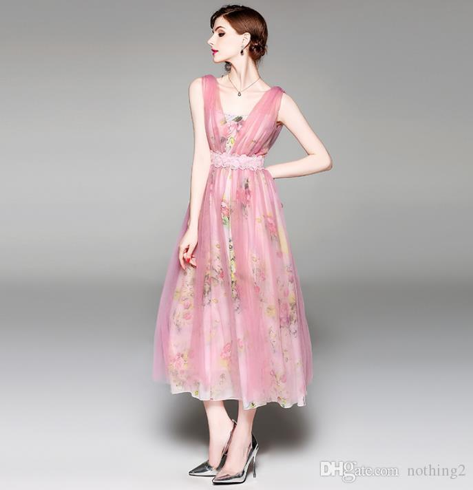 새로운 유럽과 미국의 하이 엔드 여성의 쉬폰 드레스 슬림 메쉬 2019 여름 긴 큰 스윙 스커트 여성 의류 스커트