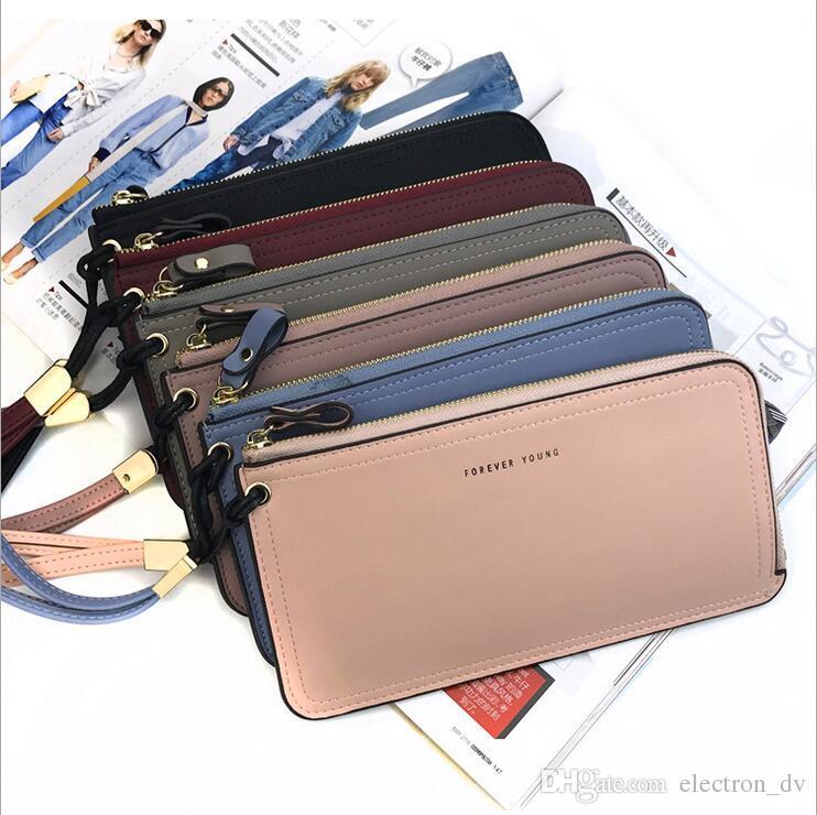 سحاب محفظة قصيرة الإناث النسخة الكورية من حقيبة الهاتف المحمول رقيقة جدا متعددة الوظائف سعة كبيرة حقيبة مخلب حقيبة يد عارضة