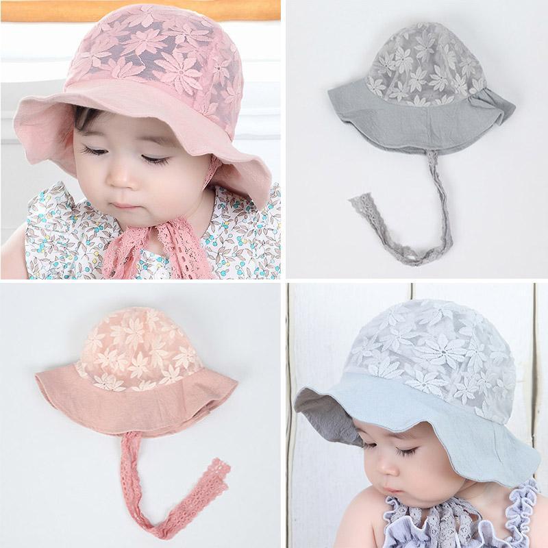 New Summer Baby Girl Hat Cap Lace Flower Cute Princess Baby Hat Kids Beach Bucket Hats Outdoor Infant Toddler Sun Visor Caps